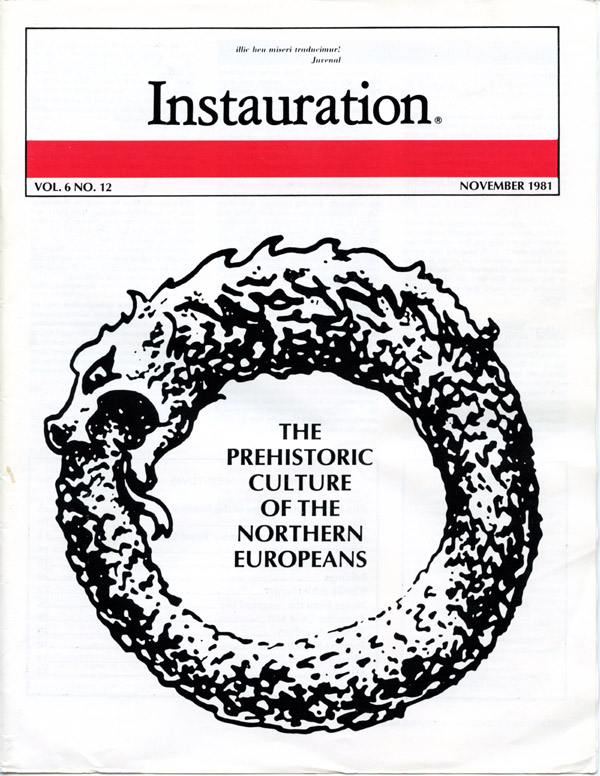 White nationalist magazine cover of Instauration November 1981